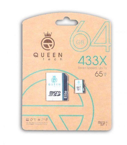 کارت حافظه کوئین تک مدل Micro SDHC U1 Elite 433X ظرفیت ۶۴ گیگابایتQueen Tech Memory Card Micro SDHC U1 Elite 433x 64GB